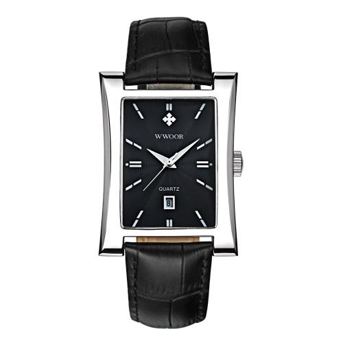 WWOOR Montre accrocheuse à quartz avec cadran rectangulaire et montre-bracelet pour homme