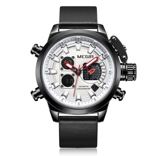megir 2090 Multifunctional Quartz Sports Men Watch Chronograph 2 Movements Alarm Clock Dual Time Zone Hourly Chime Luminous and Backlight Wrist Watch LED Digital Display Week and Date Display Stopwatch with Leather Strap