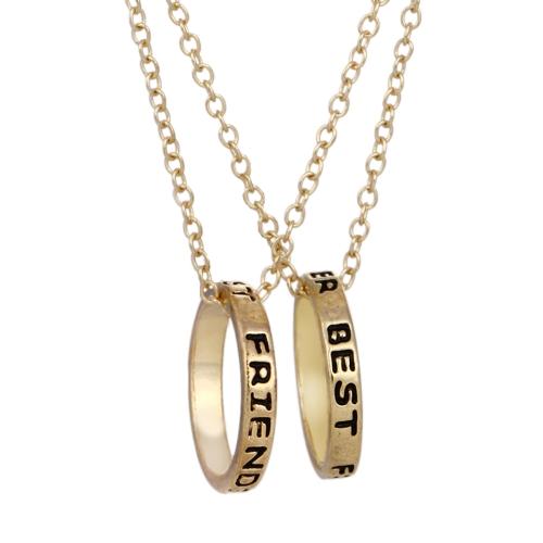 2pcs 'Mejores amigos' anillo de oro colgantes collares Set collar personalizado regalo de joyería fina para los amigos 45cm