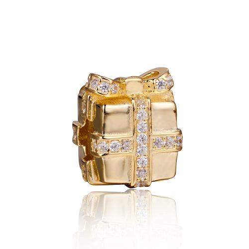 Romacci S925 plata electrochapada regalo bolsa grano esmaltado oro con diamante CZ para 3mm Lucky Charm pulsera DIY mujeres fina joyería