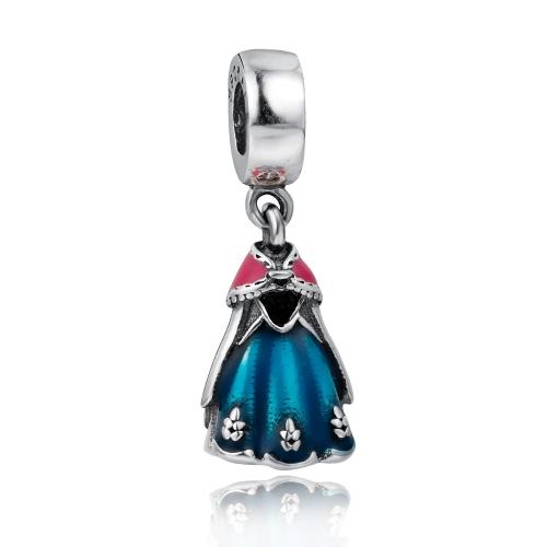 Romacci S925 Srebro Sterling Silver Ozdobne Princess Sukienka Wisiorki Nasadkowe emaliowane na 3mm DIY Lucky Charm Bracelet