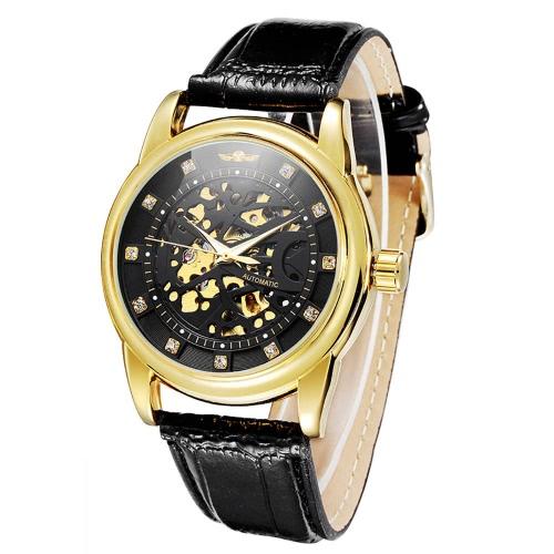 GANADOR reloj de pulsera mecánico automático esqueleto Strass transparente automático Casual hombres mujeres reloj de lujo