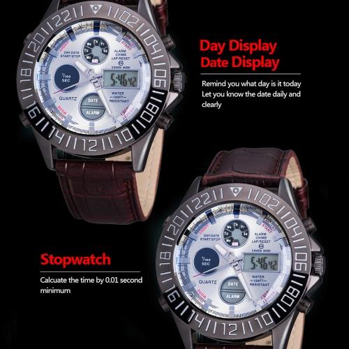 Image de Business Sport militaire ASJ masculine enveloppe Quartz Watch mouvement japonais double affichage numérique analogique temps Date jour alarme chronographe-bracelet cuir sangle bande 3ATM résistant à l'eau de vache
