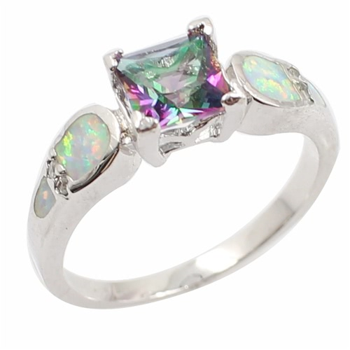 Fashion 925 Sterling Silver Shining CZ Diamond Simulated Opal Wedding Ring Women Girl Engagement Jewelry Accessory