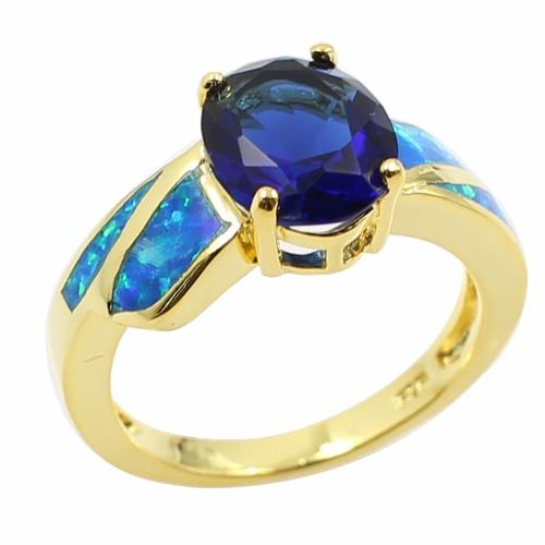 Moda CZ diamante simulado Opal plata de ley 925 anillo oro plateado mujeres chica boda compromiso joyas accesorio