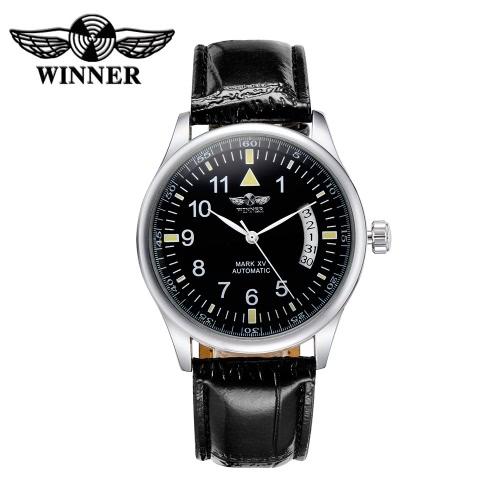 Zwycięzca Automatyczna mechaniczna Oglądaj Wysokiej Jakości Odporna na Wodę Automatyczne uzwojenie Analogowe Unisex Zegarek na rękę z kalendarzem w języku arabskim