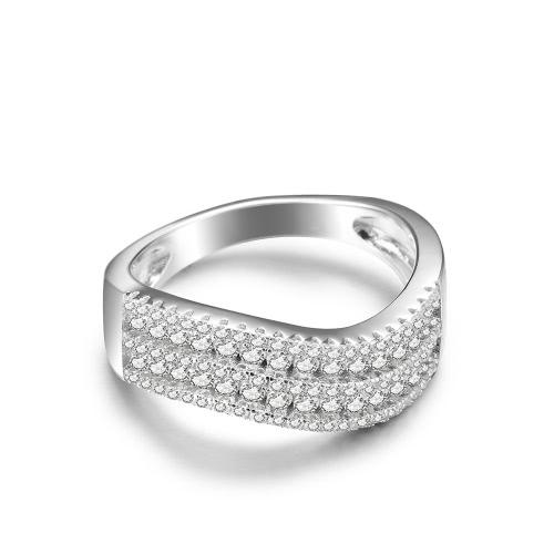 Anillo de compromiso de boda JURE 925 Anillo de plata de ley Zirconia Shinning Propuesta de reemplazo de Halo nupcial