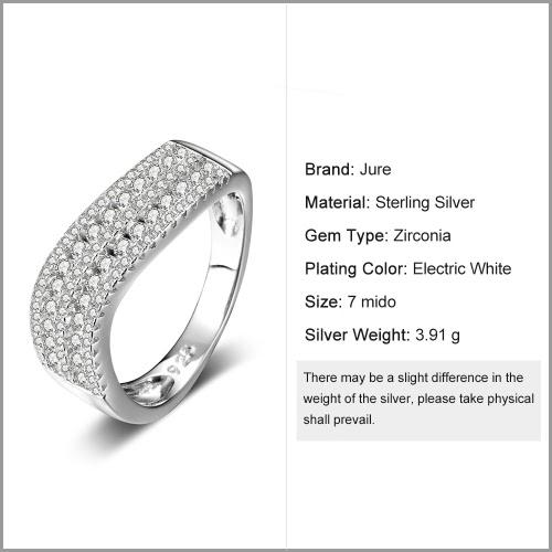 JURE 925 Серебряное кольцо Цирконий сверкающих свадебные обручальное кольцо Предложение Люкс Halo Замена фото