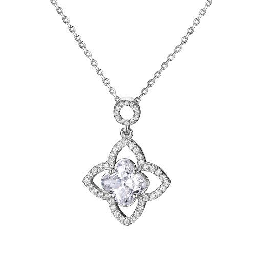 JURE S925 stałe Sterling Silver Chain Biżuteria Naszyjnik One Zirconia 18 Inch