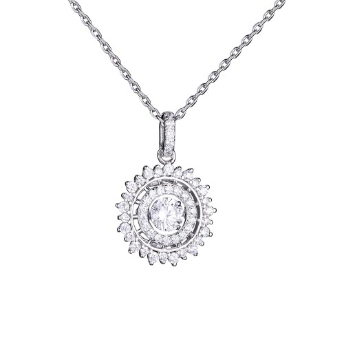 JURE Fashionable S925 Sterling Silver Pendant Rotatable Zirconia Sparkle Pendant Shinning Round Necklace 18 Inch