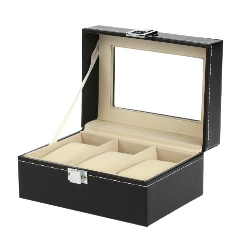 3-Slot PU Tableros de fibra exhibición del reloj Caja magnífica de la caja de almacenaje del organizador de pulsera