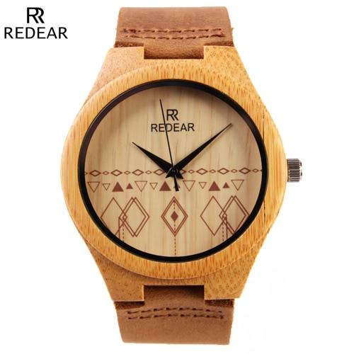 REDEAR Unikalne Natural Bamboo Zegarek Dzienne Wodoszczelność Prostota Modny mężczyzna zegarek na rocznicę ślubu