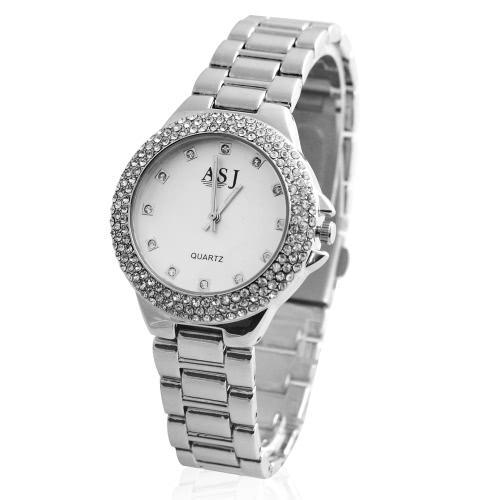 ASJ fresco de la manera Rhinestone Crystal Marca de fábrica reloj de cuarzo de la aleación del metal analógico Mujer de la hembra
