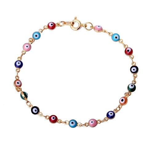 Art und Weise Neue einzigartige bunte Goldüberzogenes Kupfer-Armband-Armband mit Eye-wie Perlen für Frauen-Mädchen-Hochzeits-Geschenk-Partei