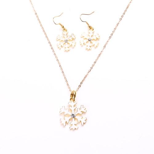 Encantador de la Navidad del metal de la aleación del cinc de los pendientes del collar del esmalte de joyería Set para Mujer Las niñas celebración de días festivos