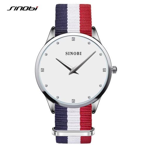 Zegarki Sinobi 2016 Prestiżowych wyjątkowy dar Dress zegarka mody Nylon Strap Ladies 'Kobiety Moda Proste Rhinestone Kwarc rękę 30M Wodoodporny