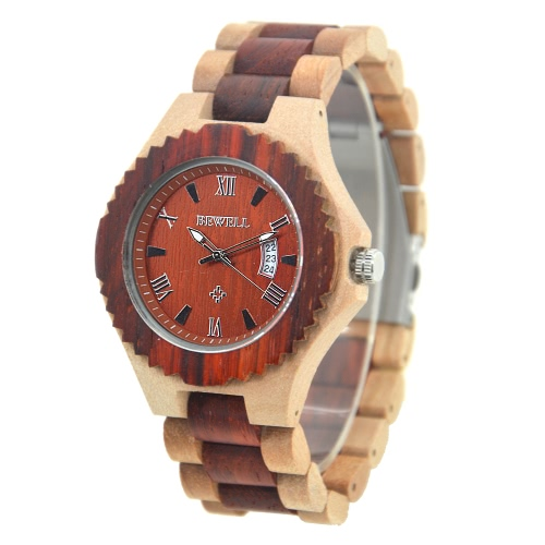 BEWELL 2017 New High Quality Luminous Quartz Men Wooden Watches Luxury Fashion Casual Man Wood Wristwatch Calendar + Watch Box Masculino Relogio