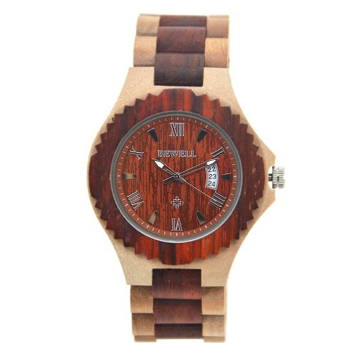 BEWELL 2017 de la nueva alta calidad luminosa de cuarzo relojes de los hombres de madera de lujo de la manera ocasional del hombre del reloj de madera del calendario + Caja de reloj Masculino Relógio