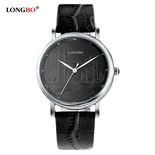 LONGBO Brand Fashion Luxury Lovers Quartz Watch Genuine Leather Strap Men & Women Casual Couples Watches Man Sports London Bridge Anaglyphy Woman Gold Wristwatch 80035