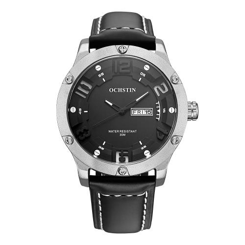 OCHSTIN GQ052 Reloj de cuero de lujo del cuarzo de los hombres