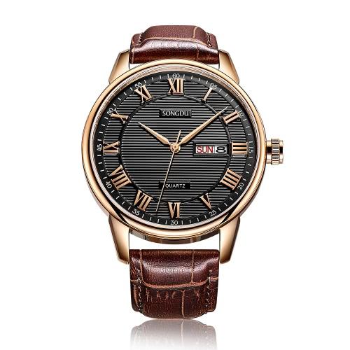 SONGDU 2017 Antiguos reloj de cuarzo de cuero genuino hombres de cuarzo hombres calendario 30M reloj de hombre a prueba de agua hombre + caja
