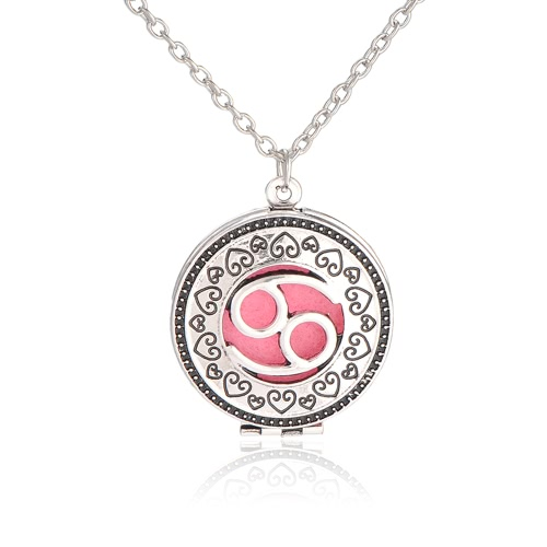 Perfume Essential Oil Diffuser Zodiac Sign Round Pendant Necklace