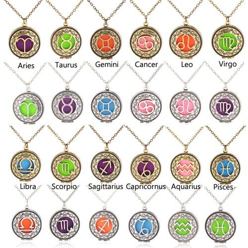 Perfume Essential Oil Diffuser Zodiac Sign Round Pendant Necklace