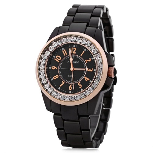 SK 2017 Simplicidad Malla De Acero Inoxidable Mujer Relojes Ultra Delgado Dial 3ATM Resistente Al Agua Reloj De Cuarzo Rosa Oro / Plata