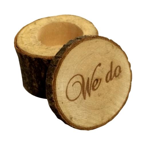 Anillo de boda rústico elegante impreso de madera del portador de anillo de boda de encargo del día de tarjeta del día de San Valentín de los corazones