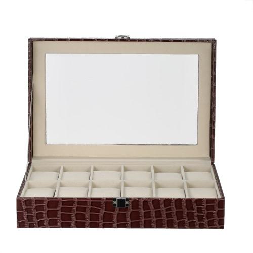 Luxo 12 Slot Watch Box Organizer Vidro Top PU Leather Watch Display Case para homens / mulheres com travesseiros Crocodile-Like Texture