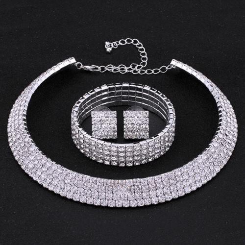 Conjunto de jóias de niquela de cristal Prata Colar de cor Casamento de casamento Conjunto de jóias bonitas para mulheres