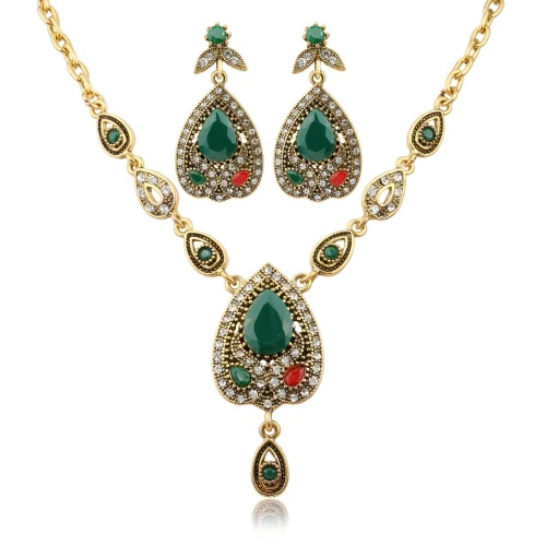 Moda Retro Bohemian Jewelry Set Necklace Earrings Ring Crystal Jóias de luxo para mulheres