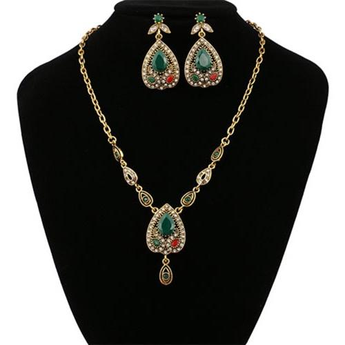 Image of Mode Retro böhmischen Schmuck Set Halskette Ohrringe Ring Kristall Luxus Schmuck für Frauen