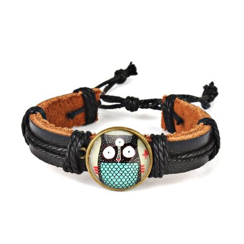 Cute Lovely Round Owl Pulseira de pulso de couro tecido para as mulheres Vintage Jewelry Accessory Gift