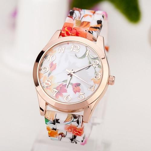 Moda de lujo rosa de oro de cuarzo mujeres reloj de silicona banda patrón de flores damas reloj de pulsera