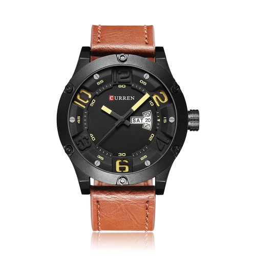 CURREN 2017 Luxuey PU Leather Quartz Men Watch