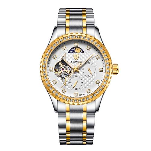 TEVISE Reloj mecánico automático esquelético de lujo de los hombres de la marca de fábrica Reloj impermeable a prueba de agua del negocio del hombre de la venda de acero inoxidable con la fase y la caja de la luna