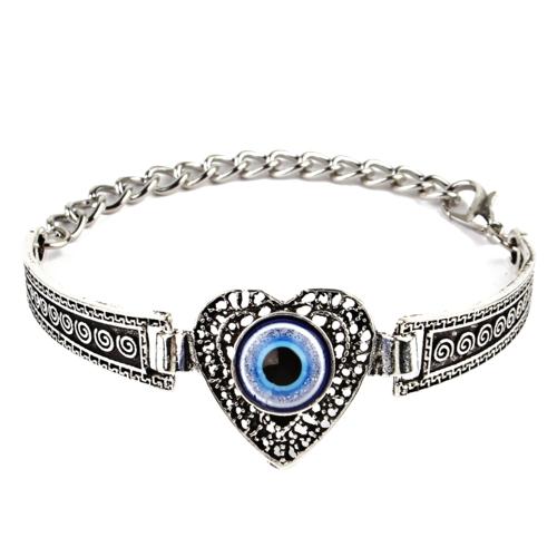 Mode Personalisierte herzform Embedded Blue Eye Armband Vintage Carving Muster Metall Bangle Böhmen Handgelenk Dekoration Geschenk