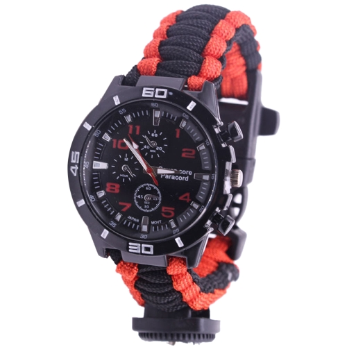 5 en 1 pulsera de paracord reloj de supervivencia al aire libre con brújula / inicio de fuego / silbato / kits de herramientas de supervivencia de paracord