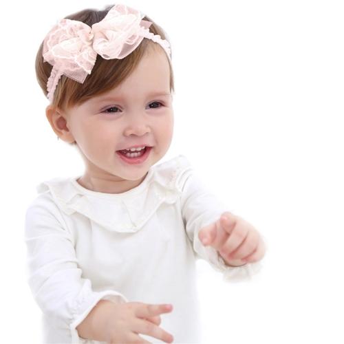Cute Pink Bow Flower Lace Babyband Elástico del cordón cómodo para la venda del niño