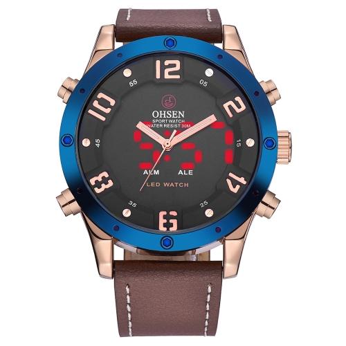 OHSEN Dual Display Digital Quartz Men Watch reloj de pulsera casual a prueba de agua cuero genuino Cool Man reloj deportivo luz de fondo / alarma Masculino Relogio