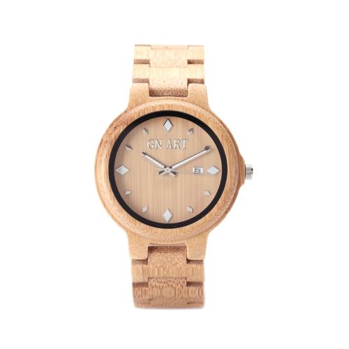 Novidade Relógio de bambu natural Minimalista Relógios de homens genuínos Relógio de pulso artesanal de moda Relógio de quartzo casual com fecho de pulseira