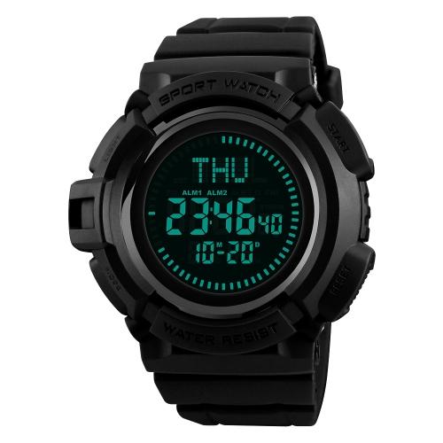 SKMEI Men's 5ATM E-Compass resistente à água LED Relógio eletrônico Esportes ao ar livre Relógios digitais Retroiluminação Alarme / Cronômetro / Contagem decrescente / Calendário Janela de data / Hora mundial