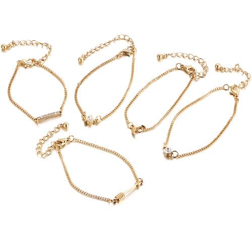 Mode Einfachen Schmuck Set Ananas Liebe Dreieck Sterne Mond Armbänder Fußkettchen für Frauen