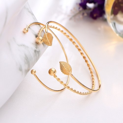 Fashion Simple 3Pcs Bracelet Set Arrow Bowknot Letters Leaf Pineapple Feather Embedded Diamond Women Bracelets