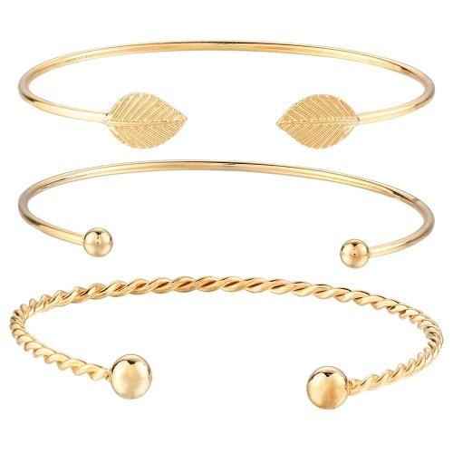 Mode Einfache 3 Stücke Armband Set Pfeil Bowknot Buchstaben Blatt Ananas Feder Eingebettet Diamant Frauen Armbänder