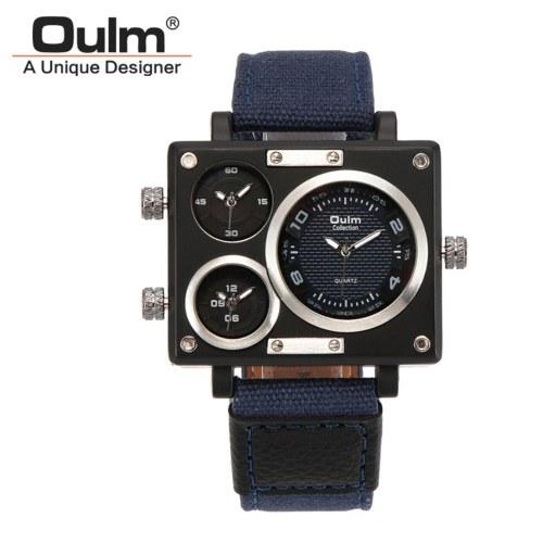 Oulm homens negócios relógio faixa de lona de luxo relógio de quartzo três fuso horário esporte relógio de pulso