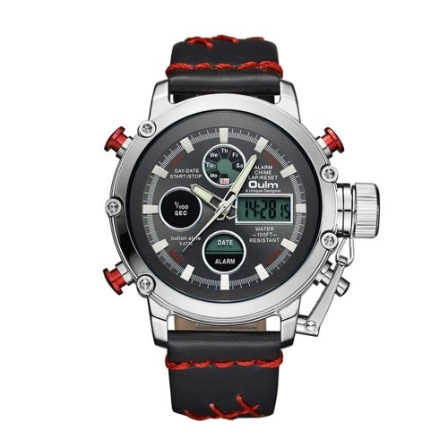 Oulm Multifunction Men Sport Quartz Watches Fashion Leather Band Wristwatch Analog Digital Dual Display Calendar Date Alarm Watches