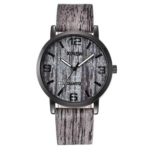 Homens Moda Relógio De Pulso Estudante Simples Bark Padrão Pulseira De Couro Relógio De Quartzo