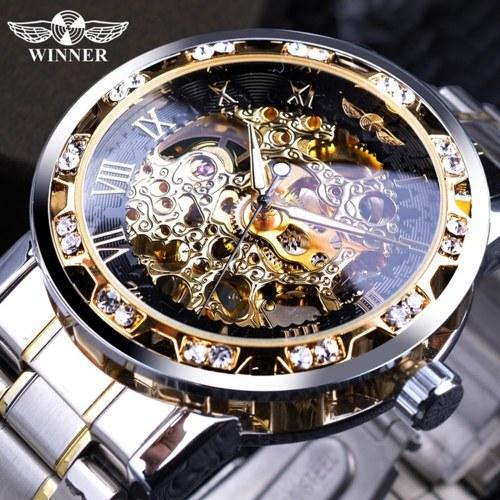 WINNER Men Automatic Watch Fashion Diamond Display Luminous Hands Gear Movement Retro Mechanical Skeleton Watches Luxury Casual Business Wristwatch